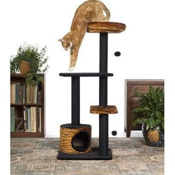 Prevue Pet Products Kitty Power Paws Tiger Tower 7303 combines super soft, plush fabrics with durable jute to provide the perfect place for lounging, sleeping, scratching, hiding and playing. A luxurious tiger print bolstered day bed is a great spot for your kitten or cat to survey its surroundings or take a cat nap. Two plush, dangling, swat toys hang playfully - one from the large cat bed and one from the lower plush platform.  Five individual, durable, jute rope scratching posts offer an appealing texture to cats, curbing inappropriate scratching behaviors and saving your sofa.  In addition to the cat bed, two rectangular platforms provide opportunities for pouncing and jump