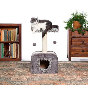 Prevue Pet Products Kitty Power Paws Shag Hideaway 7304 combines super soft, plush fabrics with durable jute and natural sisal to provide the perfect place for lounging, sleeping, scratching, hiding and playing. In varying shades of Gray the Shag Hideaway cat tree features a soft, shaggy, day bed with a ƒ??Uƒ?? shaped back, making your cat or kitten feel more secure and less vulnerable to sneak attacks. A natural jute scratching post plus sisal scratching panels offer an appealing texture to cats, curbing inappropriate scratching behaviors and saving your sofa. Two plush, dangling, swat toys hang playfully from the cat bed providing opportunities for pouncing, jumping and play. The sturdy base contains a kitty shaped entryway leading to the shag covered hideaway where your cat or kitten will feel more secure and avoid social stress. Expertly designed cat furniture assembles easily and satisfies the needs of cats of all ages, sizes and activity levels.  Measures 16'' Long, 12'' Wide and 29'' High.
