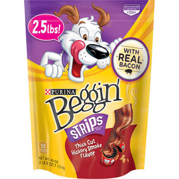 """Why do dogs go crazy for Beggin' Strips Thick Cut   The phenomenon can best be explained using dog logic.  Dogs love the taste of bacon--that's why they love Beggin  Strips.  (Stay with me...)  So, if bacon flavor is good, then thicker, bigger, bolde"""""""