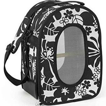 Prevue Pet Products Soft Sided Bird Travel Carrier with Perch Small is light weight, convenient and ready to go!  Durable, double stitched canvas fabric with stiff panel sides and bottom is sturdy and features an integrated handle strap in addition to the detachable shoulder strap with pad.  Breathable wire mesh window screens let your bird see its surroundings while the front panel unzips letting your feathered friend climb in and out easily and giving you full access to the interior of the carrier.  Included wood perch and interior floor pad are easily removed for clean up when your trip is over.  Double zipper locks can be locked together with small security lock (not included). Suitable for canaries, finches, budgies and similar size birds ƒ?? all Prevue cages and carriers undergo independent lab testing to conform to the highest levels of pet safety. Ideal for short term use, traveling or emergency situations Prevue's Soft Sided Small Bird Travel Carrier with Perch measures 10 ?«'' Long, 7 ??'' Wide and 14 ?«'' High