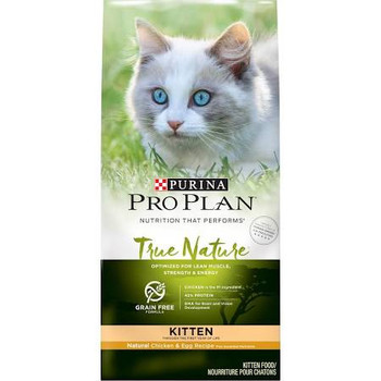 Like her wild ancestors, your kitten is an obligate carnivore.  She not only loves meat, she requires high levels of protein and other essential nutrients as her body develops.  That's why Purina Pro Plan True Nature delivers what your kitten craves""