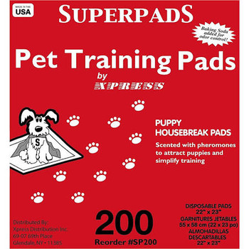 """Scented with pheromones to attract pet to pad for easy training.  Baking soda added to control odor.  Enhanced with moisture trap system to transform liquid into gel to avoid splatter and dripping."""""""