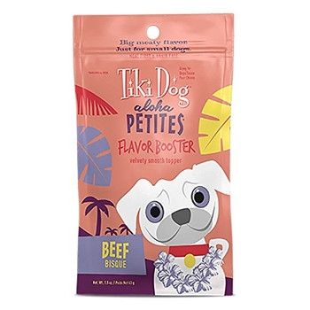 Tiki Dog Aloha Petites Flavor Booster Bisque Makes A Perfect Occasional Treat On It's Own Or A Delicious Topper To Dry Kibble. Featuring Chunks Of Delicious Meat In A Savory Gravy That Gives Your Dog's Dry Kibble A Blast Of Moisture. Tiki Dog Aloha Petite