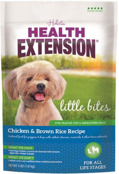 Health Extension Little Bites Chicken   Brown Rice Recipe dry dog food is crafted especially for teacups, toys and miniature dogs ? from puppies to senior adults. This delicious, protein-first formula contains select cuts of organically raised chicken alo