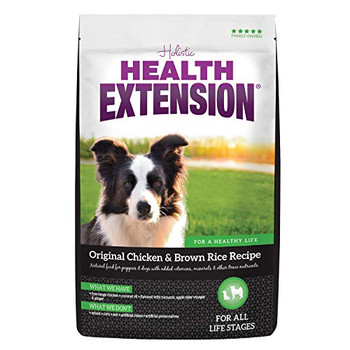 The super-premium recipe that put Health Extension on the map! Our Original Chicken   Brown Rice Recipe dry dog food offers a special blend of nutrients you won?t find anywhere else. This delicious, protein-first formula contains select cuts of organicall