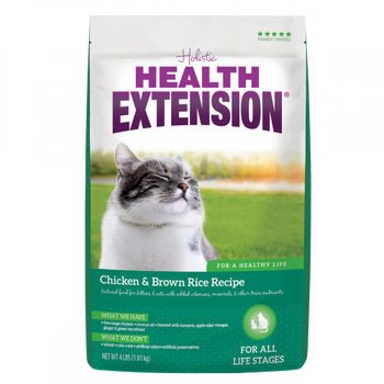 Health Extension Chicken   Brown Rice Recipe dry cat food is crafted especially for the nutritional needs of felines, from kittens to senior adults. This highly delectable diet contains naturally raised chicken as the first ingredient, along with highly d