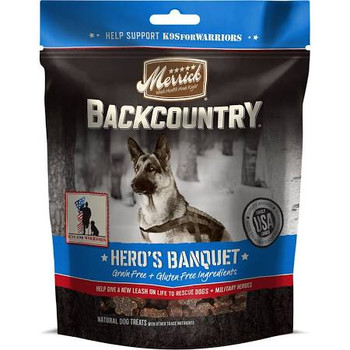 Merrick Backcountry heros Banquet  Food Recipes And Treats Help Support K9s For Warriors And Their Work Of Pairing Service Dogs With Military Veterans Suffering From Post-traumatic Stress Disability (ptsd). Backcountry Treats Meet Demand For All-
