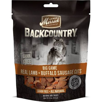 """Merrick Backcountry treats meet demand for all-natural, cooked-in-the-USA meat treats and chews.  Beyond a hearty, wood-smoked taste dogs go wild for, the treats are grain-free with no gluten ingredients start with real meat, poultry or fish as the f"""""""