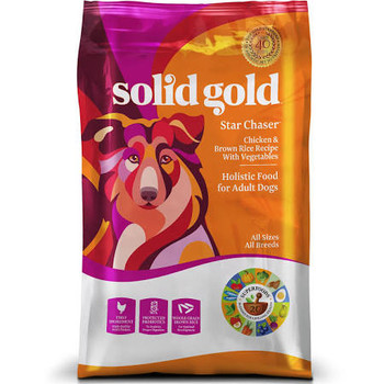 """Solid Gold Star Chaser Chicken and Brown Rice w/ Vegetables Holistic Adult Dry Dog Food is a mixture off lean, iron rich duck meat, imported from France.  Potatoes, for a highly digestible energy source, and vegetables makes every bite just as tasty"""""""