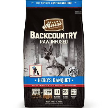 """Hero's Banquet recipes celebrate the work of our partner K9s For Warriors, whose mission is pairing specially trained rescue dogs with veterans suffering from post-traumatic stress disability (PTSD).  It starts with real deboned beef as the first ing"""""""