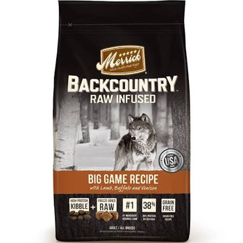 """Merrick Backcountry is an all-natural, grain free ancestral canine diet packed with protein that dogs crave.  Merrick Backcountry Raw Infused kibble recipes deliver a perfect combination of protein-rich, grain free kibble plus real, whole pieces of r"""""""