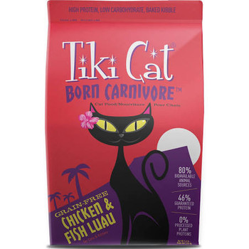 """Tiki Cat Born Carnivore Chicken &amp Fish Luau Cat Food Is A Grain-Free, High-Protein, Low-Carb Diet For The Obligate Carnivore.  Chicken &amp Fish Luau Contains 80% Bioavailable Animal Sources, With More Than 30% Fresh Meat &amp Fish From Chicken, H"""""""