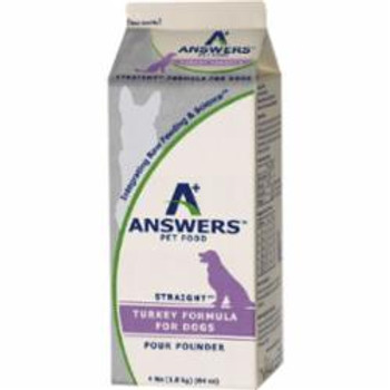 Answers Dog Frozen Straight Turkey 4lb {L-x} SD-5