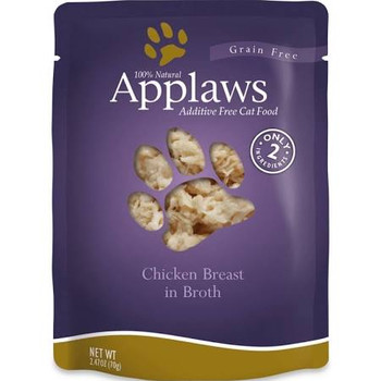 """Applaws Cat Food Pouches Chicken Breast 2.4oz Applaws Pouches are a 100% completely natural complementary pet food for adult cats that contains only a select few ingredients that your kitty will love!  Use as a kibble topper or a supplemental meal!"""""""