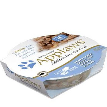 """APPLAWS Luxury Tuna Fillet with Prawn contains nothing more than the ingredients listed.  Applaws is a completely natural complementary pet food for adult cats."""""""