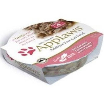 """APPLAWS Succulent Tuna Fillet with Crab contains nothing more than the ingredients listed.  Applaws is a completely natural complementary pet food for adult cats."""""""