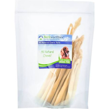 Barkworthies Cow Tails (6 oz.) are all-natural, crunchy-chewy chews suitable for all stages of life. These highly palatable, high protein chews have a unique texture and shape that helps inbrush awayin built-up plaque and tartar, promoting oral health and helping prevent bad doggy breath. Our Cow Tails are highly digestible chews produced from free-range grass-fed cattle. Most Barkworthies' all-natural dog treats and chews are completely preservative-free and additive-free. Please note that this product is not for human consumption. Please supervise your pet while giving a treat or chew and dispose of properly if it becomes a choking hazard or develops sharp edges.
