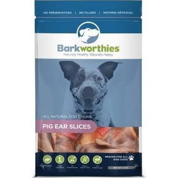 Barkworthies All-Natural Pig Ear Slices are a high protein chew made from high quality pig ear. Perfectly sized for small pups or to use as training treats, these all-natural dog chews are a fully-digestible treat. Antibiotic-free, hormone-free, and chemical-free, these healthy dog chews are the perfect way to give your dog a tasty treat without harsh, unnatural additives. A single-ingredient chew containing only all-natural pork, buyers can rest assured that our Pig Ear Slices are a wholesome choice for your dog.