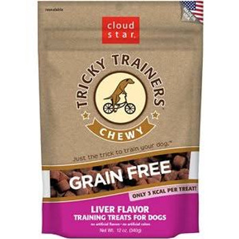 """Cloud Star Tricky Trainers Chewy Grain Free Liver Flavor Dog Treats, 12-oz bag Your dog will be eager to learn new tricks when served the Cloud Star Tricky Trainers Chewy Grain Free Liver Flavor Dog Treats.  Whether you re teaching an old dog new tri"""""""