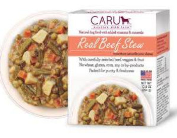 """Caru Real Stews have been made made with carefully selected ingredients to look, smell and taste just like homemade food!  These hearty stews are prepared in small batches without any grain, gluten, or wheat."""""""
