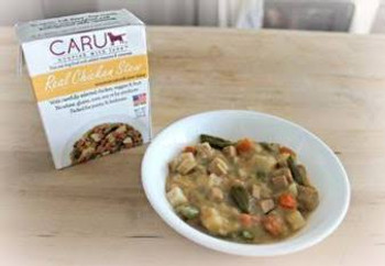 """Caru Real Stews have been made with carefully selected ingredients to look, smell and taste just like homemade food!  These hearty stews are prepared in small batches without any grain, gluten, or wheat.  Not to mention, real USDA-inspected meat is t"""""""