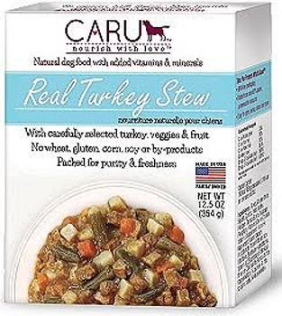 """CARU Real Turkey Stew is a wet dog food made from only 100% FDA verified human grade ingredients processed and handled in accordance with FDA regulations for human food.  Ingredients:Turkey, Chicken Broth, Sweet Potatoes, Carrots, Potatoes, Green Bea"""""""