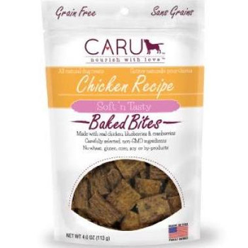 Caru Natural Grain Free Chicken Recipe Bites For Dogs-4-oz-{L-tx}