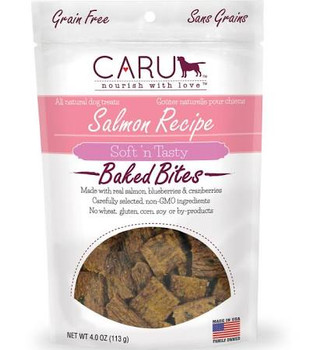 """These delicious bite-size treats are grain-free and baked in small batches to lock in exceptional aroma and flavor.  They re healthy to feed every day with no GMO ingredients, wheat, gluten, corn, soy or by-products included.  CARU Soft  n Tasty Trea"""""""