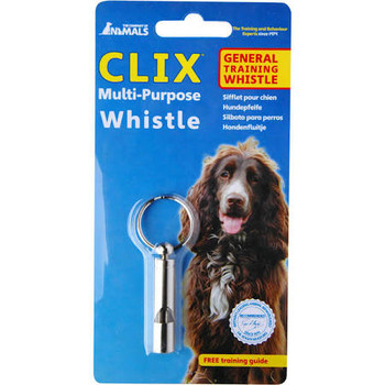 """CLIX Multi-Purpose WhistleThe CLIX Multi-Purpose Whistle is an all-round whistle for both the pet dog owner and professional trainer.  The whistle is made from tough steel, yet is a lightweight design.  The Clix Multi-Purpose Whistle provides a clear"""""""