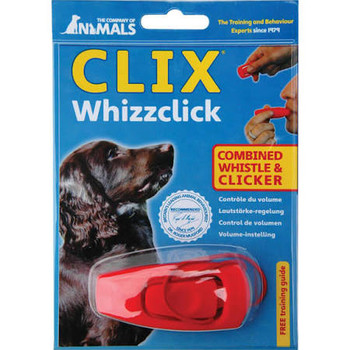 """The Company of Animals Clix Whizz Click is a unique training aid that combines two of the most popular dog training tools a clicker and a whistle.  Using a clicker is a fun way to reward train your dog, while the whistle allows you to control a dog a"""""""