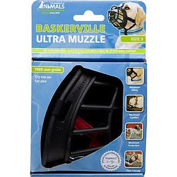 """KVP56212 Baskerville Ultra Dog Muzzle.  Innovative Dog Muzzle made with a durable yet flexible polymer for comfort and strength.  Safety straps with a comfortable neoprene lining and three attachment points ensure the muzzle will always remain secure"""""""
