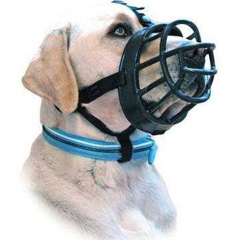 """Innovative Dog Muzzle made with a durable yet flexible polymer for comfort and strength.  Safety straps with a comfortable neoprene lining and three attachment points ensure the muzzle will always remain securely in place but be comfortable for the d"""""""