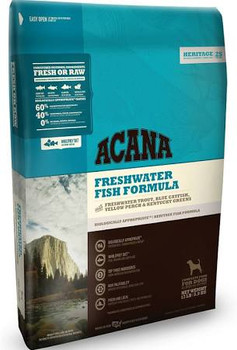 By nature, all dogs are evolved as carnivores, biologically adapted for a diet rich and varied in fresh meats with smaller amounts of fruits, vegetables and grasses. - That s why we loaded ACANA Freshwater Fish with Rainbow trout from Idaho, whole Bl""