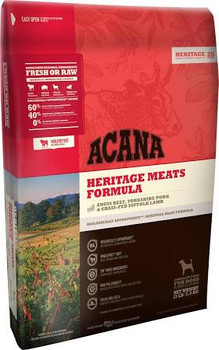 Why Choose Us Acana Heritage Meats Dog Food - 4.5 Lbs ACANA Heritage Meats is Loaded with Angus beef, Yorkshire pork and Suffolk lamb All raised on local Kentucky farms ACANA is a natural and delicious way to keep your dog healthy, happy and strong.""