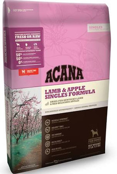 ACANA Lamb &amp Apple Singles Formula Dry Dog Food, 4.5-lb bag The ultimate food mimics the one Mother Nature intended your dog to eat.  Featuring grass-fed lamb as the sole animal protein, ACANA Lamb &amp Apple Singles Formula Dry Dog Food is a limi""
