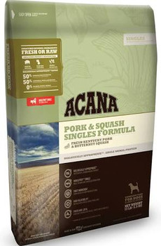 ACANA Pork &amp Squash Singles Formula Dry Dog Food, 25-lb bag The ultimate food mimics the one Mother Nature intended your dog to eat.  Featuring Yorkshire pork as the sole animal protein, ACANA Pork &amp Squash Singles Formula Dry Dog Food is a lim""