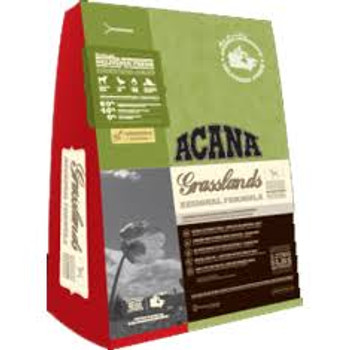 Acana Grasslands Geared to match the natural diet of dogs Acana Grasslands is lowcarbohydrate and grainfree and is loaded with premium meat ingredients a full 60 including Omega3 EPA DHA from fresh fish to support immunity and a luxuriant skin and ha""