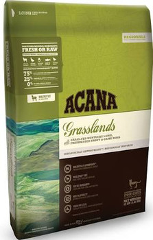 Kentucky is home to lush grasslands, where farms and ranches benefit from long summers and fertile soils.  Reflecting our Kentucky home, ACANA Grasslands features a richly nourishing variety of fresh local lamb, free-run duck, whole eggs and freshwat""