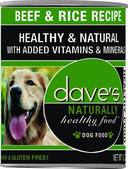 """Daves Naturally Healthy Canned Dog Food is a perfect, gluten-free diet for your sensitive dog!  In other words, no wheat, no soy, no corn!  Ingredients: Beef, Sufficient Water For Processing, Beef Liver, Chicken, Brewers Rice, Dried Egg Product, Guar"""""""