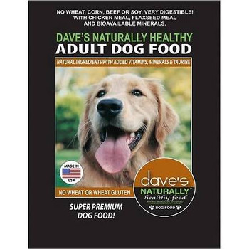 """Dave's Pet Food Naturally Healthy Adult Dry Dog Food, 4-lb bag Dave s Naturally Healthy Adult Dry Dog Food is the perfect healthy and all-natural food (with added vitamins and minerals) for all kinds of adult dogs.  It s made with easily digestible l"""""""