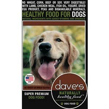 """Dave's Pet Food Naturally Healthy Adult Dry Dog Food, 30-lb bag Dave s Naturally Healthy Adult Dry Dog Food is the perfect healthy and all-natural food (with added vitamins and minerals) for all kinds of adult dogs.  It s made with easily digestible"""""""