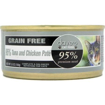 Daves 95% Premium Meat Tuna &amp Chicken Pate is puuuurfect for your overweight cat.  High in protein and moisture and low in carbs, this diet can help a flabby tabby become lean and healthy again.""