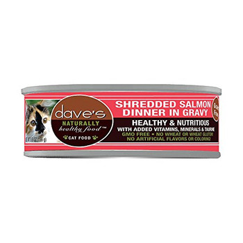 Dave's Pet Food Naturally Healthy Grain-free Shredded Salmon Dinner In Gravy Canned Cat Food Adds Important Moisture To Your Cats Diet, Which May Help Prevent Cystitis And Urinary Infections. Its Gmo-free And Grain-free, And Has No Wheat Or Wheat Gluten,