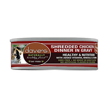 Dave's Pet Food Naturally Healthy Grain-free Shredded Chicken Dinner In Gravy Canned Cat Food Adds Important Moisture To Your Cats Diet, Which May Help Prevent Cystitis And Urinary Infections. Its Gmo-free And Grain-free, And Has No Wheat Or Wheat Gluten,