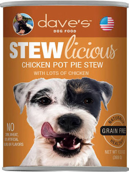 Dave's Pet Food Grain-free Chicken Pot Pie Formula Is Loaded With Real Protein And A Great Taste Your Dog Will Love! Healthy, Grain-free, All Natural With Added Vitamins And Minerals To Keep Your Dog Healthy And Active. No Artificial Flavors Or Colors.