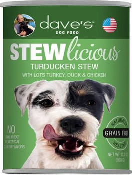 Dave's Pet Food Grain-free Turducken Formula Is Loaded With Real Protein And A Great Taste Your Dog Will Love! Healthy, Grain-free, All Natural With Added Vitamins And Minerals To Keep Your Dog Healthy And Active. No Artificial Flavors Or Colors.