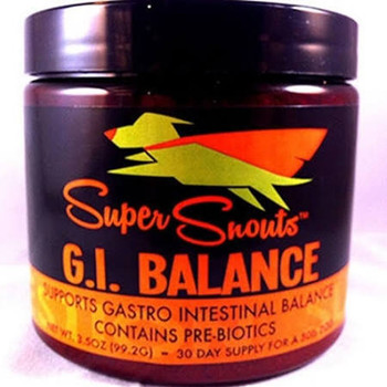 """Super Snouts G.I.Balance Dog Supplement Don't let your dog miss out on having a healthy digestive system.  This supplement is made with natural ingredients that will boost the digestive tract.  Balance features USA Sourced Pumpkin &amp Apple Fiber."""""""