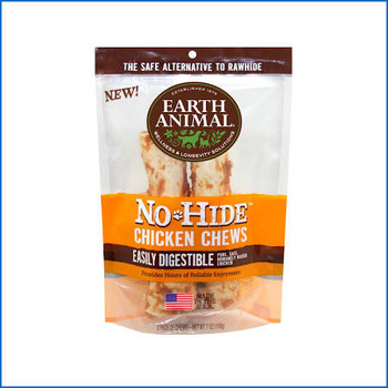 """At last, a safer, healthier, better alternative to Rawhide.  Earth Animal's No-Hide Chews gives new meaning to dog treats.  No-Hide is one of the first chews of its kind and hide free! Their No-Hide Chicken Chew is a long-lasting, 100% digestible ch"""""""