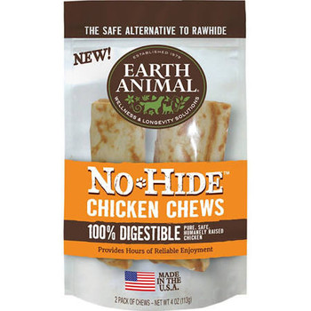"""Earth Animal s No-Hide Chicken Chews open up a whole new world of delicious, healthy chews!  No-Hide Chicken Chews are long-lasting, 100% digestible chews, developed for your dog s enjoyment and your own peace of mind.  Made from American farm-raised"""""""