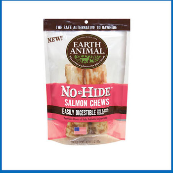 """At last, a safer, healthier, better alternative to Rawhide.  Earth Animal's No-Hide Salmon Chews gives new meaning to dog treats.  No-Hide is one of the first chews of its kind and hide free! Their No-Hide Salmon Chew is a long-lasting, 100% digesti"""""""